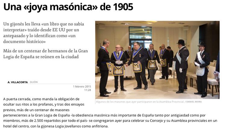 Extracto de la noticia en El Comercio de Gijón el 1 de febrero de 2015