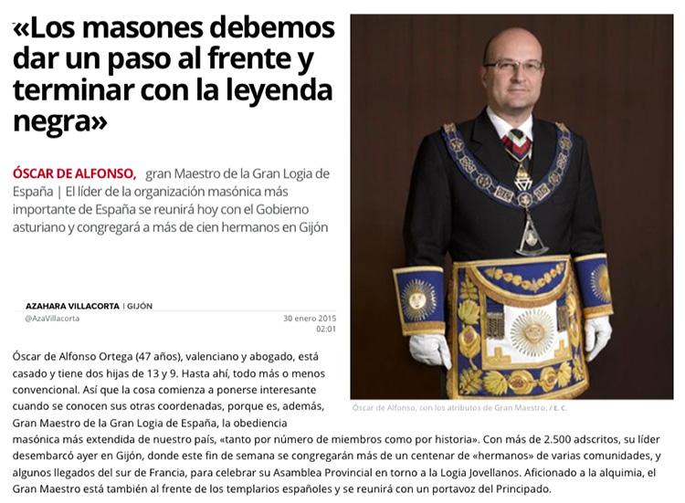 Entrevista al Gran Maestro de La Gran Logia de España en El Comercio
