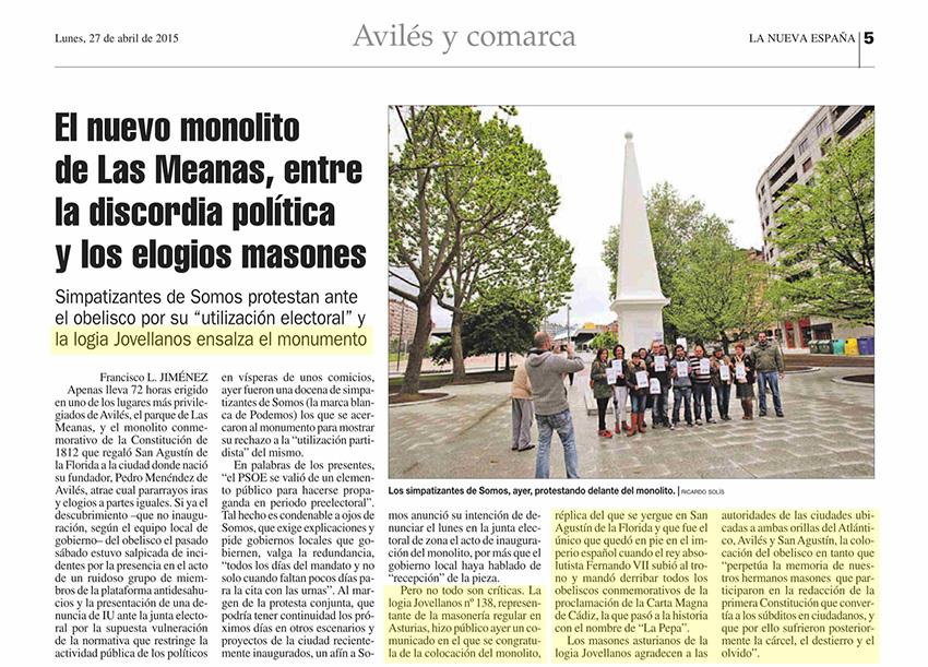 El nuevo monolito de Las Meanas, entre la discordia política y los elogios masones