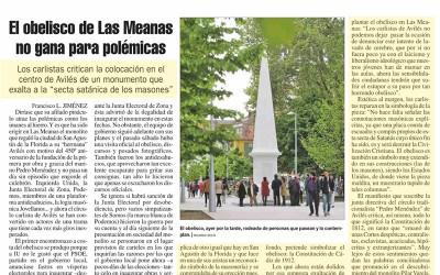 Los carlistas critican la colocación en el centro de Avilés de un monumento que exalta a la «secta satánica de los masones»