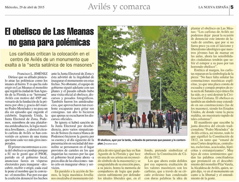 """Los carlistas critican la colocación en el centro de Avilés de un monumento que exalta a la """"secta satánica de los masones"""""""